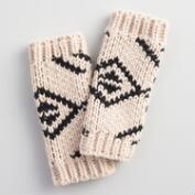 Ivory and Black Tribal Fingerless Gloves