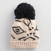 Ivory and Black Tribal Beanie