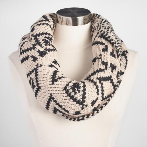 Ivory and Black Tribal Infinity Scarf