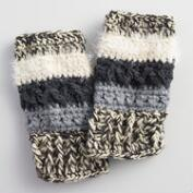 Black, Gray and Ivory Nubby Fingerless Gloves