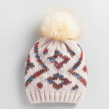Blush Geometric Fur Pom Beanie