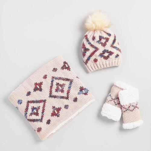 Blush Geometric Hat, Glove and Snood Collection