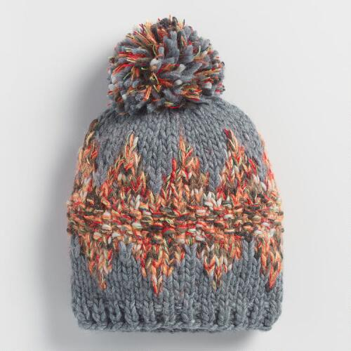 Gray Multicolor Beanie with Large Pom