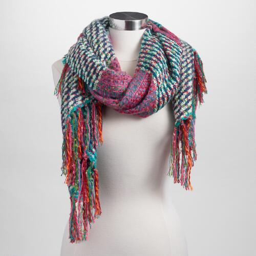 Oversized Turquoise Multicolor Scarf