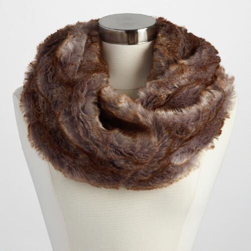 Brown and Gray Faux Fur Snood