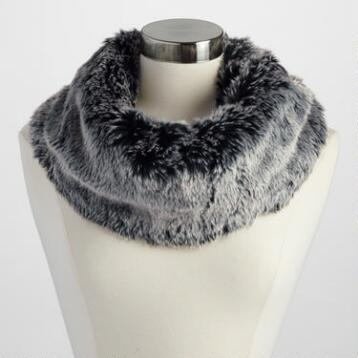 Gray Faux Fur Snood with Buckle
