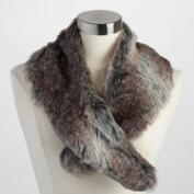 Gray Faux Fur Button Collar Scarf