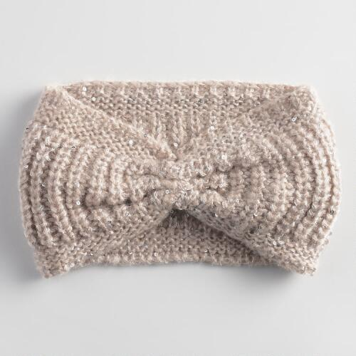 Taupe Sequin Head Warmer