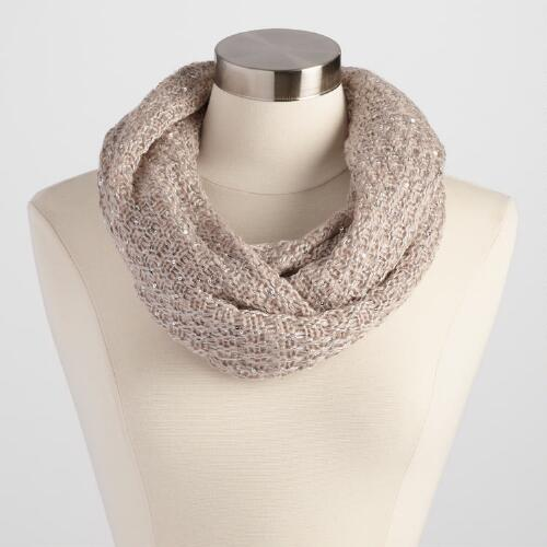 Taupe Infinity Scarf with Sequins