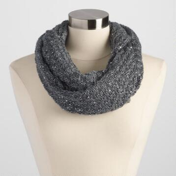 Gray Infinity Scarf with Sequins
