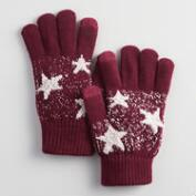 Burgundy and Oatmeal Star Tech Gloves