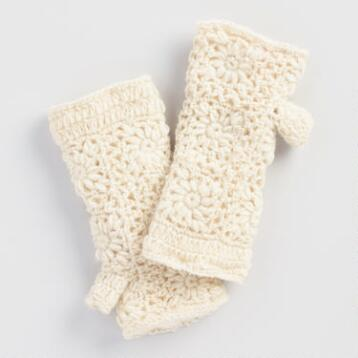 Ivory Crochet Wool Fingerless Gloves