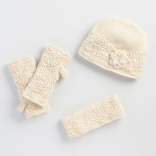 Ivory Crochet Wool Gloves, Hat and Head Warmer Collection