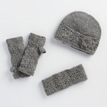 Gray Crochet Wool Gloves, Hat and Head Warmer Collection