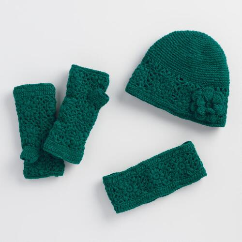 Teal Crochet Wool Gloves, Hat and Head Warmer Collection