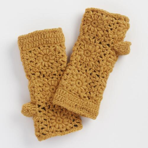 Yellow Crochet Wool Fingerless Gloves