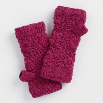 Pink Crochet Wool Fingerless Gloves