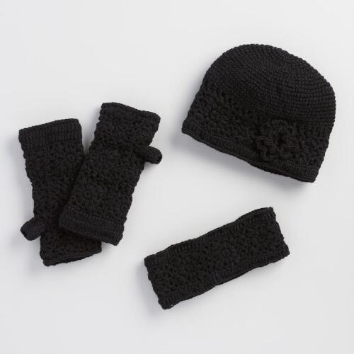 Black Crochet Wool Gloves, Hat and Head Warmer Collection