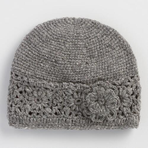Gray Crochet Wool Beanie