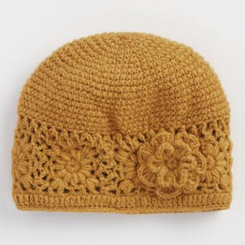 Yellow Crochet Wool Beanie