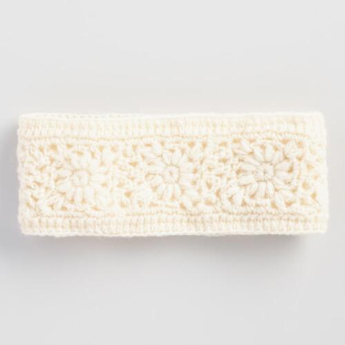 Ivory Crochet  Wool Head Warmer