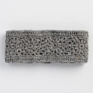 Gray Crochet Wool Head Warmer