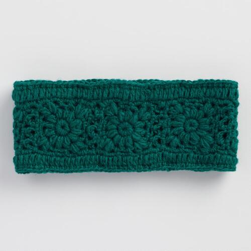 Teal Crochet Wool Head Warmer