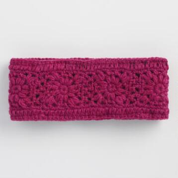 Pink Crochet Wool Head Warmer