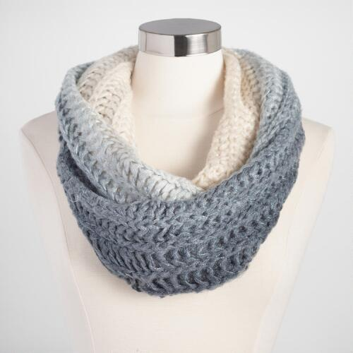 Ivory and Gray Lurex Ombre Snood