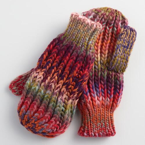 Multicolor Drop Stitch Mittens