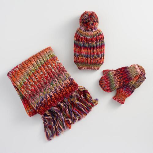 Multicolor Drop Stitch Hat, Scarf and Mittens Collection