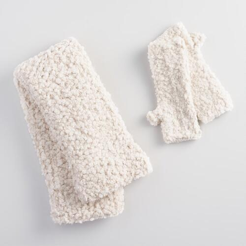 Ivory Nubby Infinity Scarf and Fingerless Gloves Collection