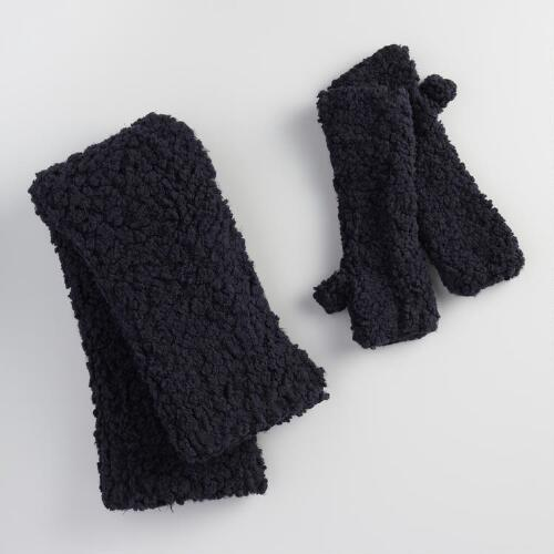 Black Nubby Infinity Scarf and Fingerless Gloves Collection