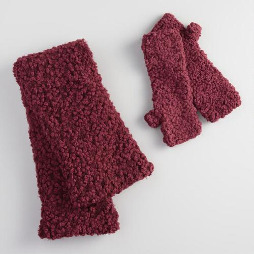 Wine Infinity Scarf and Fingerless Gloves Collection