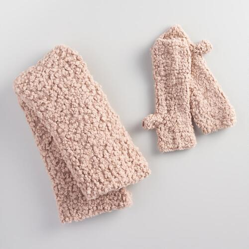 Blush Infinity Scarf and Fingerless Gloves Collection