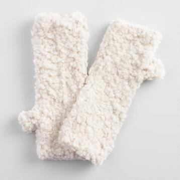 Ivory Nubby Fingerless Gloves