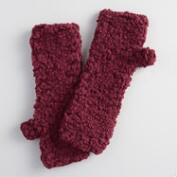 Wine Nubby Fingerless Gloves