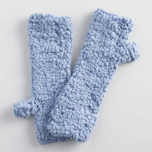 Blue Nubby Fingerless Gloves