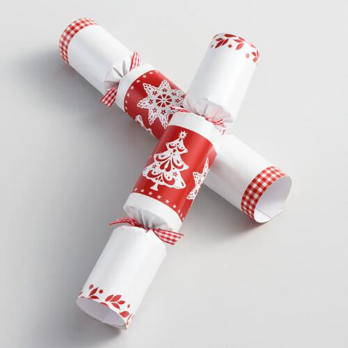 "10"" Red and White Christmas Crackers 8 Count"