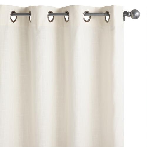 Ivory Harlow Grommet Top Cotton Curtains Set of 2