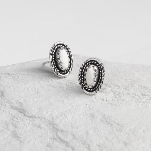 Howlite Silver Stud Earrings
