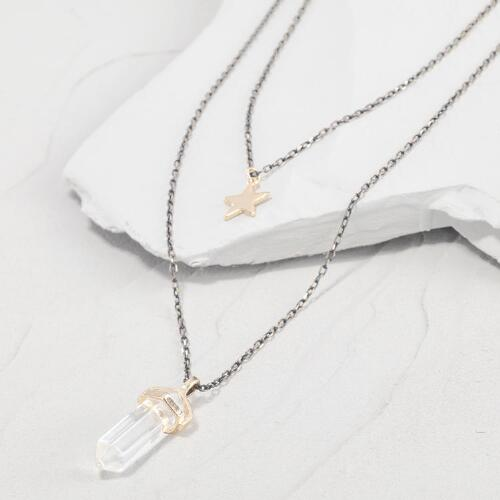 Crystal and Star Double Layer Necklace