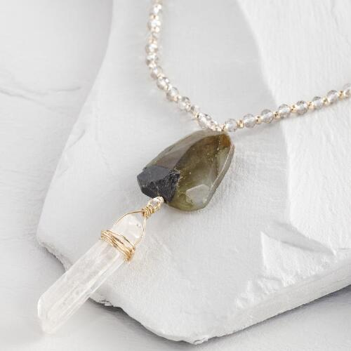 Stone and Crystal Pendant Necklace