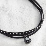 Black Diamond Multi Strand Choker Necklace
