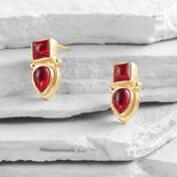 Garnet and Gold Stud Earrings