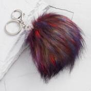 Purple Multicolored Pom Keychain