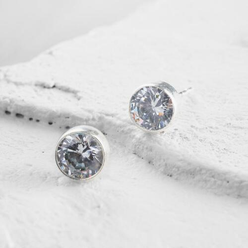 Glass Diamond Stud Earrings