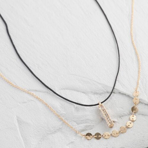Gold Disc Cord Necklaces Set of 2