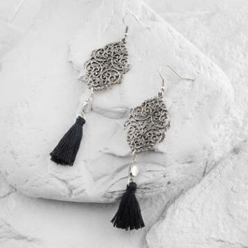 Black Tassel Drop Earrings