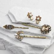 Gold Jewel Hair Pins and Stud Earrings Set of 4
